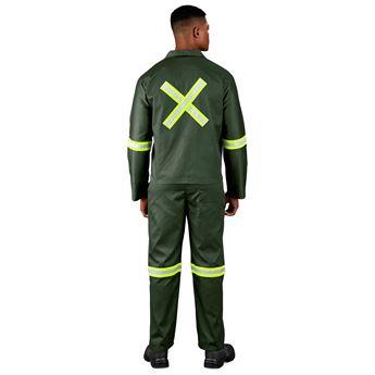 Acid Resistant Polycotton Conti Suit - Reflective Arm, Legs & Back - Yellow Tape, ALT-11063